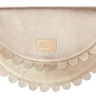 Daisy Gold Leather Clutch Bag by RUSI