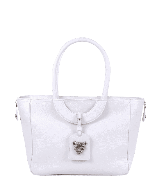 White leather bag with zip