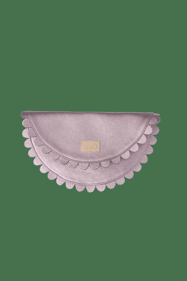 Gunmetal silver leather Clutch Bag