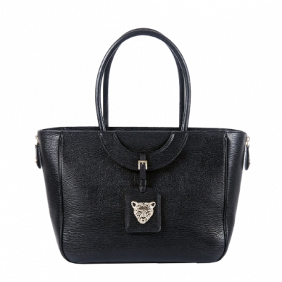 Black Leather Bag with zip