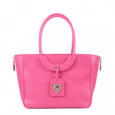 Pink Leather Bag with Zip