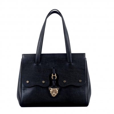 Black Leather Bag called FIORE by RusiDesigns