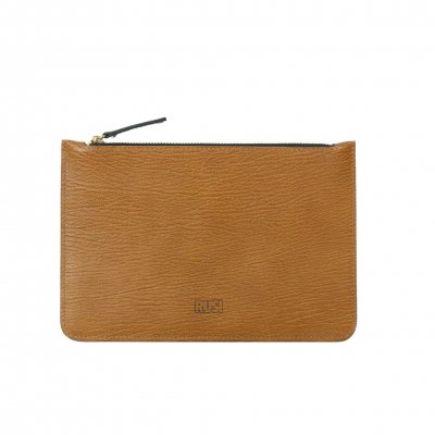 Elegant Leather Pouch in Tan Brown