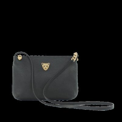 Black Leather croddbody bag for women