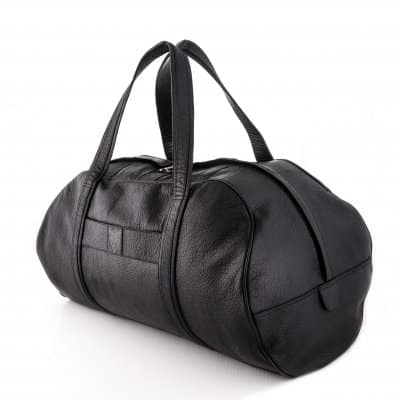 Black Goat Leather Weekend Bag