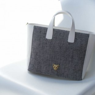 Canvas White Leather Bag