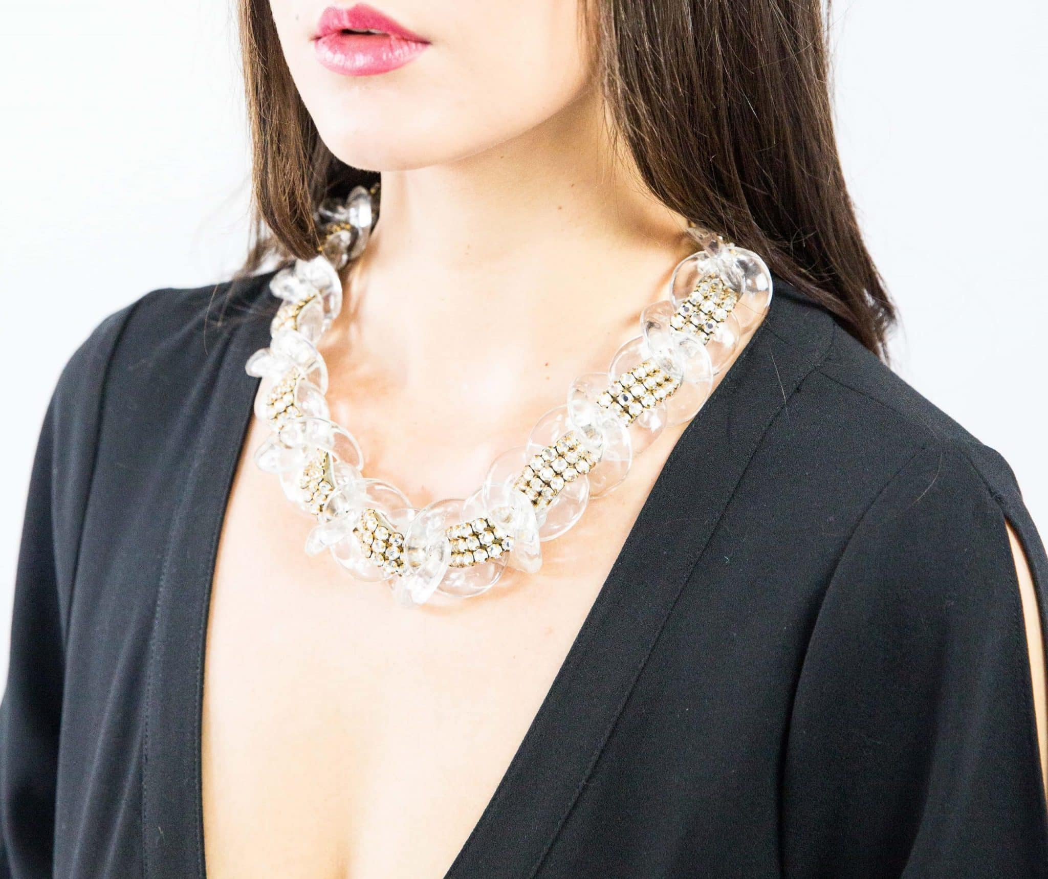 Clear Charm Necklace with white crystals