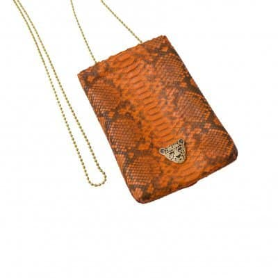 Orange Capsule Clutch gold logo RusiDesigns