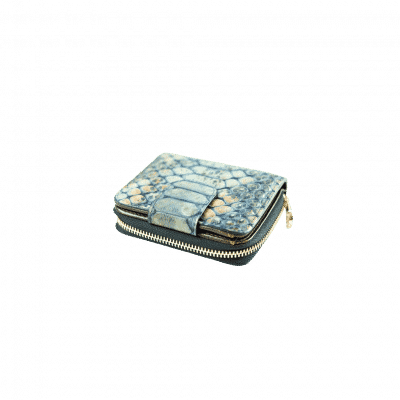 Small wallet blue croc