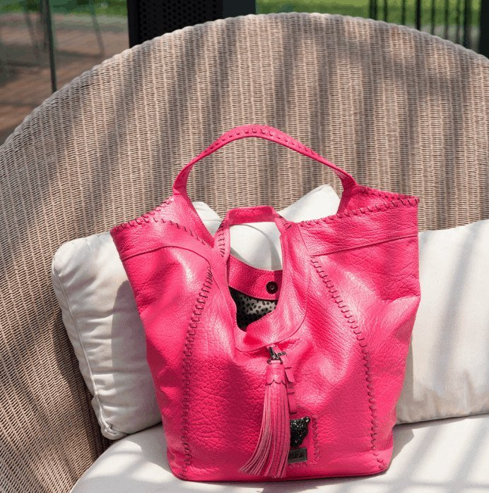 Pink leather hobo bag