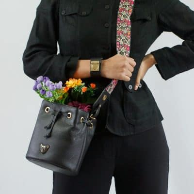 Black Bucket Bag Canvas Strap Model